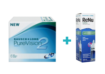 Purevision 2 HD (6 buc) + Renu multiplus (360 ml)